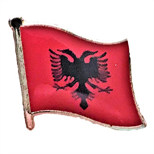 "Backwoods Barnaby Albania Flag Pin/International Travel Lapel Pins Collection (0.75"" x 0.75"")"