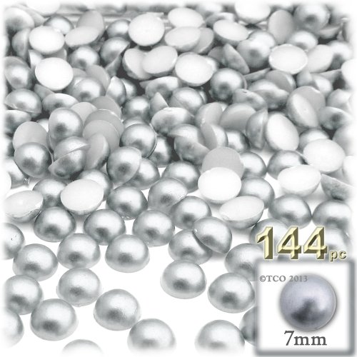 (144pc Pearl finish Half Dome Beads, Round, 7mm, White)