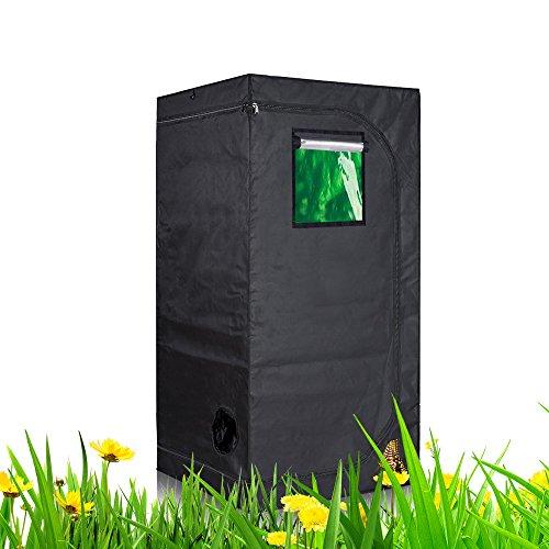 TopoLite 32x32x63 Indoor Grow Tent Room 600D Reflective Diamond Mylar Hydroponic Garden Growing Plant w/Viewing Window/Metal Corner