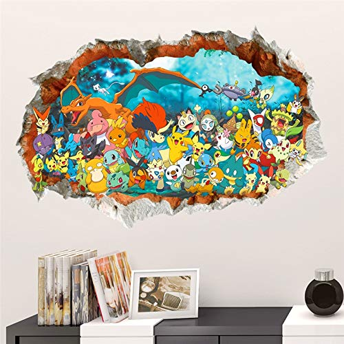 Best Choise Product 3D Effect Cartoon red Pikachu pet Elves Through Wall s for Kids Rooms DIY Wall Art Decals Decor Pokemon go Game Posters -