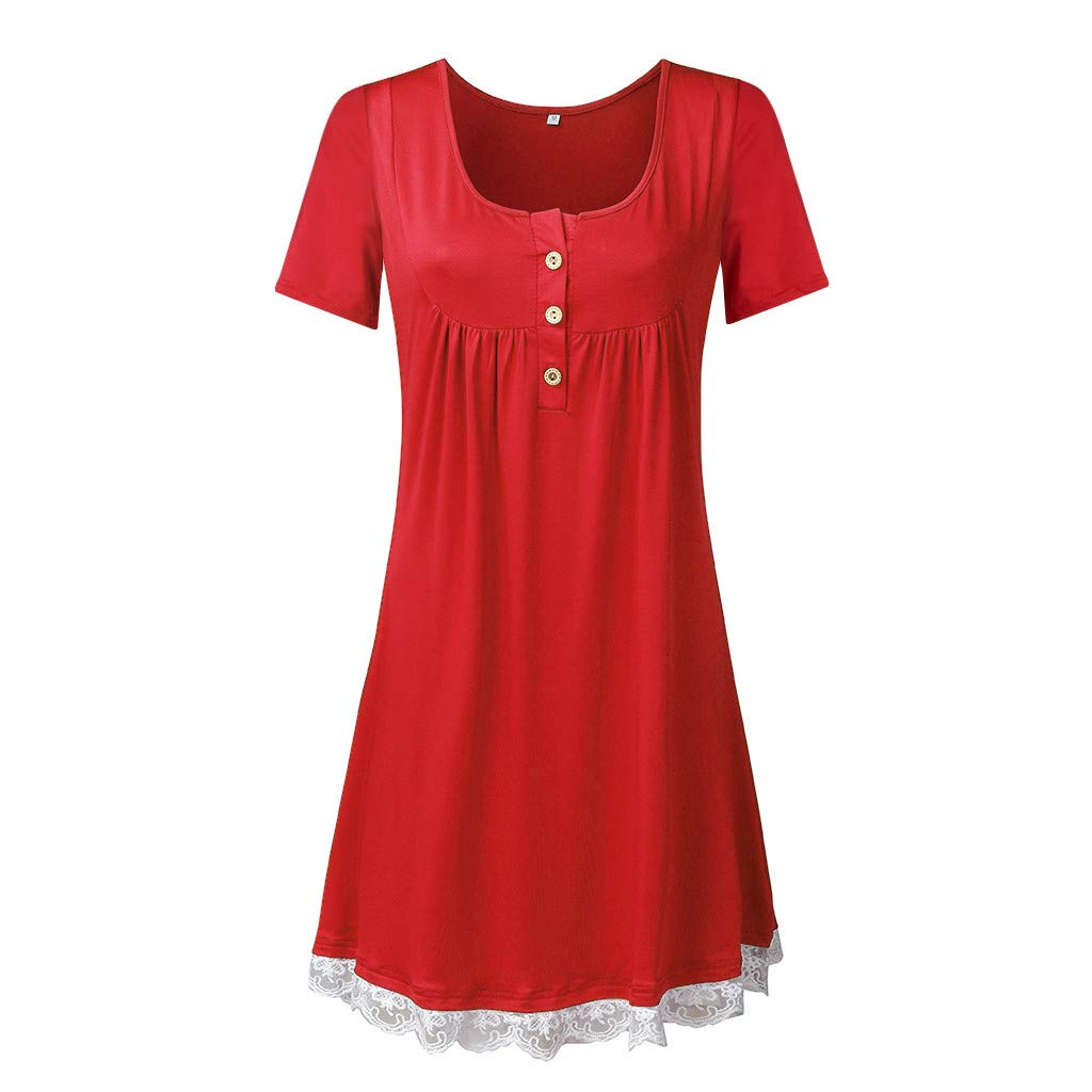 Haalife◕‿Women's Sleeveless Pockets High Low Pleated Casual Pleated Swing Beach Dress Red by HAALIFE Women's Clothing