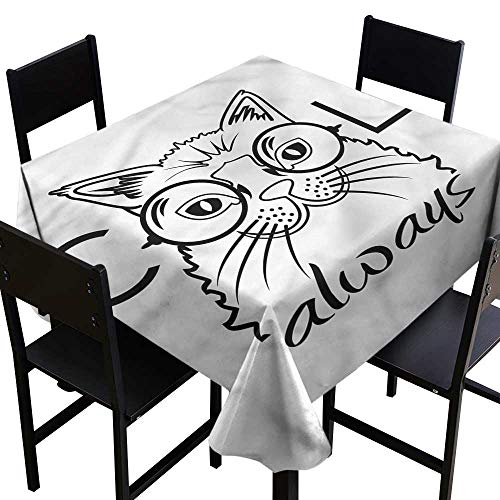 (Cat Resistant Table Cover Kitty with Glasses Table Cover for Kitchen Dinning Tabletop Decoratio 60 x 60 Inch)