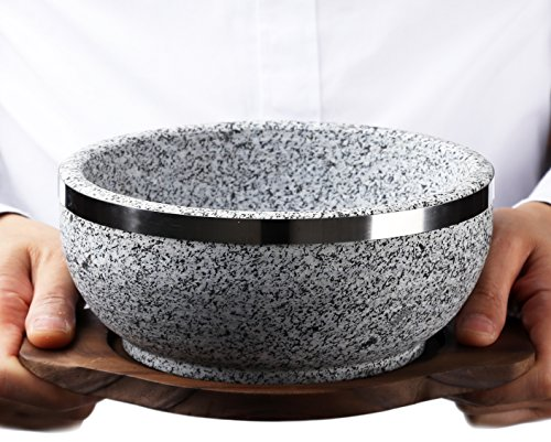 Price comparison product image KoreArtStory Dolsot-Bibimbap Stone Bowls Set of 1 32-Oz (POT1 + Wood base 1+ Bibimbap Recipe) Cooking Korean Soup and Food