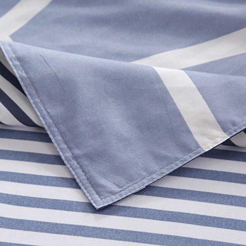 Bedding Children Duvet Cover Set Flat Bed Sheet Pillowcase No Comforter 4pcs SJD Twin Full Queen Full Love Lasting Stripe lattices Designs for Kids Children (Lasting Stripe,Blue, Twin,59''x78'') by Nova (Image #7)