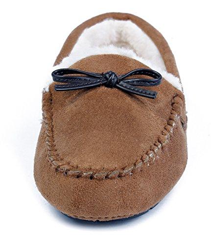 AgeeMi Shoes Damen Mokassins Rund Schließen Zehe Weich Bequem Flache Schuhe Hell Braun