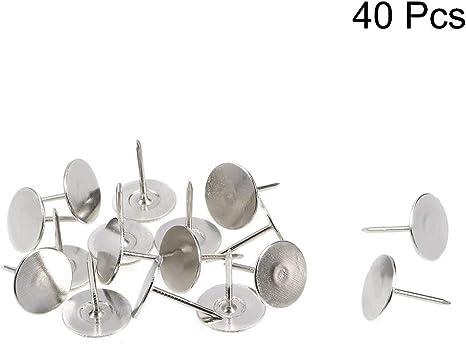 sourcing map 100Stk.Polstern/ägel Rei/ßzwecken 11mm x 17mm Flachkopfn/ägeln Pins Silber Farbton
