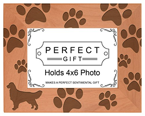 Gifts For All By Rachel Olevia Dog Lover Gift Golden Retriever Paw Prints Natural Wood Engraved 4x6 Landscape Picture Frame Wood - Golden Retriever Paws