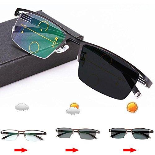 Men Photochromic+ Multifocus Glasses 3 Powers in 1 Reader, Change to Gray On Sun (Black, - On Glasses Change Lenses