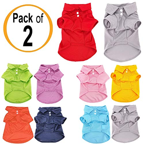 Pack of 2 Colors Dog Polo Shirt Cute Puppy Cat T-Shirt Solid Clothes Apparel for Small Pet