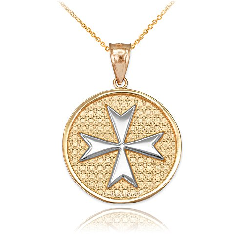 10K Two-Tone Yellow Gold Knights Templar Maltese Cross Medal Pendant Necklace (16) - Maltese Cross Medal