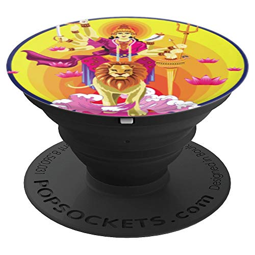 Goddess Durga In Subho Bijoya India Buddhism - PopSockets Grip and Stand for Phones and Tablets (Best Non Android Phone In India)