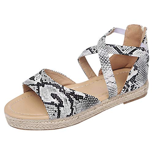 Londony ◈ Women's Slim Animal Flip Flop Sandal Women's Cross Over Ankle Strappy Buckle Open Toe Ballet Flat Sandals Gray
