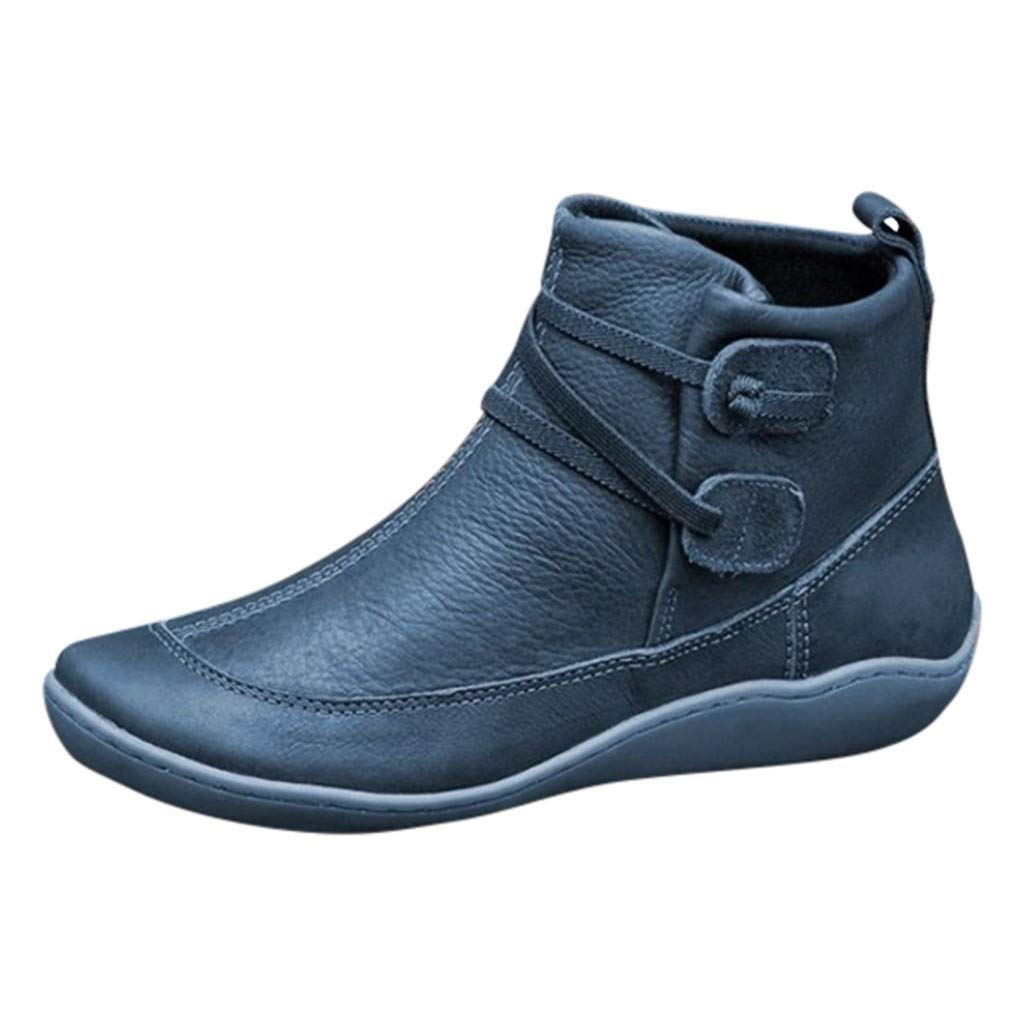 Women's Vintage Leather Bootie Flat Waterproof High Top Shoes Winter Round Toe Ankle Boots, Blue, 6 M US by OcEaN Shoes