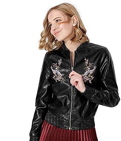 PYKDB Chaqueta de Cuero Bordada Mujeres Moto Coat Chaqueta de imitación Abrigos Ropa de Abrigo Femenina