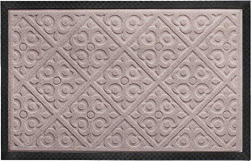 Door Mat Indoor Outdoor Doormats Outside Effective Scraping of Dirt Patio Grass Snow Dust Grit Removal Ideal Low Profile Doormat Front Door Entrance Mat Rug Non Slip Rubber (Beige) 17.5x 27