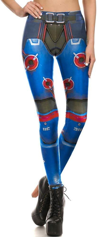 KUDALL Medias Leggings Pantalones De Yoga Fitness Deportes Estiramiento Leggings Delgados Azul Círculo Armadura Personalidad Impresión Digital Cintura Alta Cadera Damas Pantalones