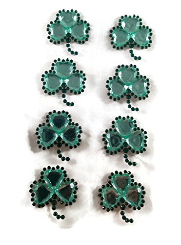 Shamrock Jewels - Clover Shamrocks St Patricks Day Gemstone Jewel Stickers - 8pc