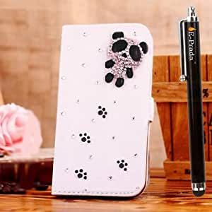 E-Prada NOKIA LUMIA 625 Jewelry Bling Diamond Gem Magnetic Flip Cards Slots Stand Leather Case Cover - Panda Bling