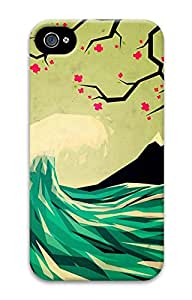 iPhone 4 Case, iPhone 4S Case, Green Wave Plum Blossom Customize Hard 3D Shock-Absorption Protective Case Cover for Apple iPhone 4 4S
