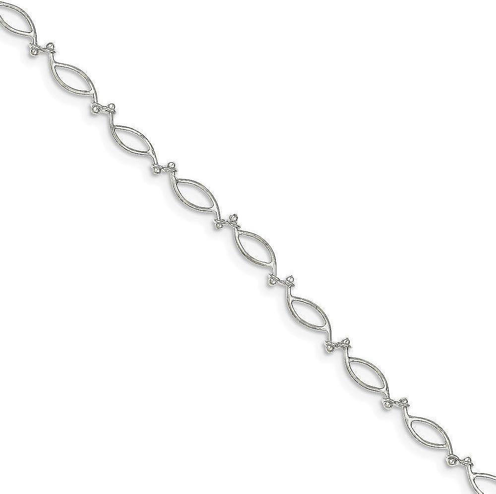 with Secure Lobster Lock Clasp Solid 925 Sterling Silver 10inch Fancy Polished Anklet Bracelet