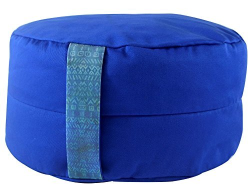 Premium Yoga Meditation Cushion Zafu. Certified Organic Buckwheat Fill. Extra Spinal Support. Unique Handle Design. (Cobalt, Rondo 11' Diameter 6 ' Height)