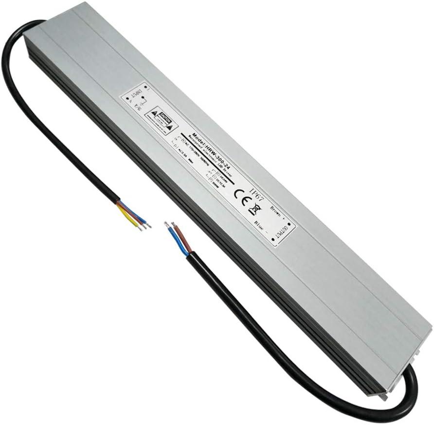 VARICART Activador Resistente al Agua LED IP67 24V 12,5A 300W, Ultra Fino Universal Potencia Conmutable AC DC, Transformador de Voltaje Constante Adaptador para CCTV G4 MR16 GU5.3 Bombilla (Pack de 1)