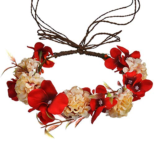 Flower Crown Headband for Women bridal Boho Wreath Halo floral garland for Wedding Prom photography (Bridal Wreath Headband)