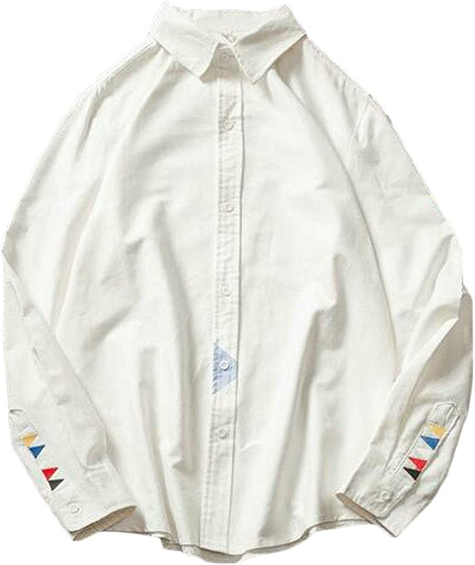 Jofemuho Mens Casual Long Sleeve Button Up Embroidery Button Up Dress Shirt