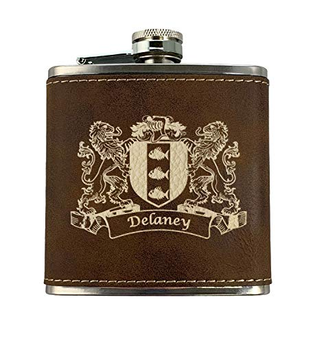 Delaney Irish Coat of Arms Leather Flask - Rustic Brown