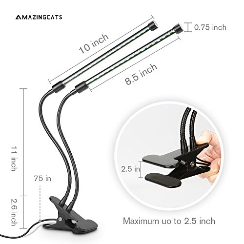 [2018 Upgraded]18W Dual Head Timing Grow Lamp, 36 LED Chips with Red/Blue Spectrum for Indoor Plants, Adjustable Gooseneck, 3/6/12H Timer, 5 Dimmable Levels[AMAZINGCATS] by AMAZINGCATS (Image #5)