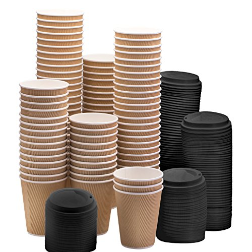 NYHI Set of 100 Brown Disposable Paper Cups with Black Lids (8-oz) | Ripple Insulated Kraft for Hot Drinks - Tea & Coffee | Triple Layer Design | Eco- Friendly, Recyclable, Durable Paper