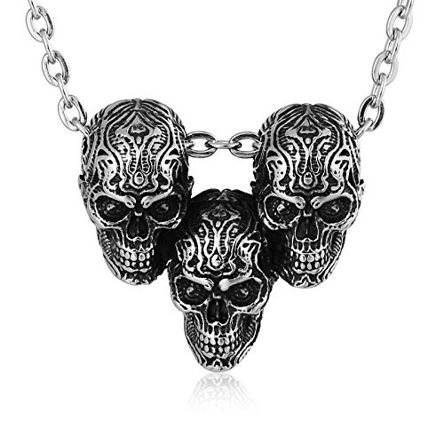 Aooaz Jewelry Pendant Necklace Stainless Steel Necklace Three Hoes Necklace for Men Silver 3X3.2Cm