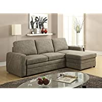 ACME Furniture Derwyn 51645 Sectional Sofa, Light Brown Linen
