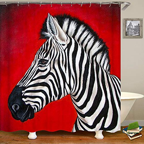 SARA NELL Zebra Red Shower Curtain,Waterproof Polyester Fabric,Extra Long Bath Curtains Bathroom Decorations,72X72 Inches with 12 -