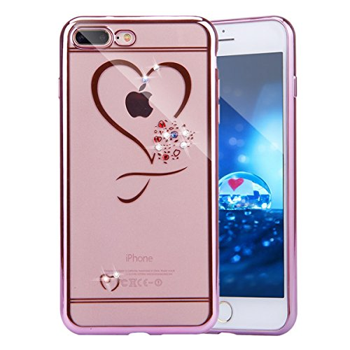 iPhone 8 Case, iPhone 7 Bling Case, PHEZEN Luxury Bling Crystal Rhinestone Diamonds Plating Frame Transparent Soft TPU Silicone Bumper Case Cover for iPhone 7/iPhone 8, Rose Gold Bumper