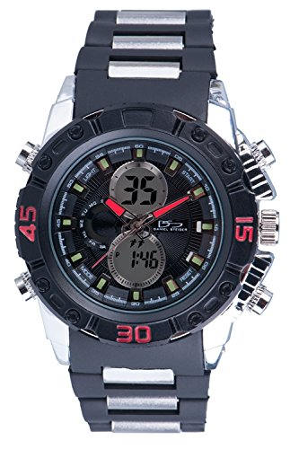 Daniel Steiger Hybrid Luxury Men's Analog & Digital Sports Watch With Red Accents - Water Resistant - Durable Rubber Band, Digital Alarm & Calendar Functions