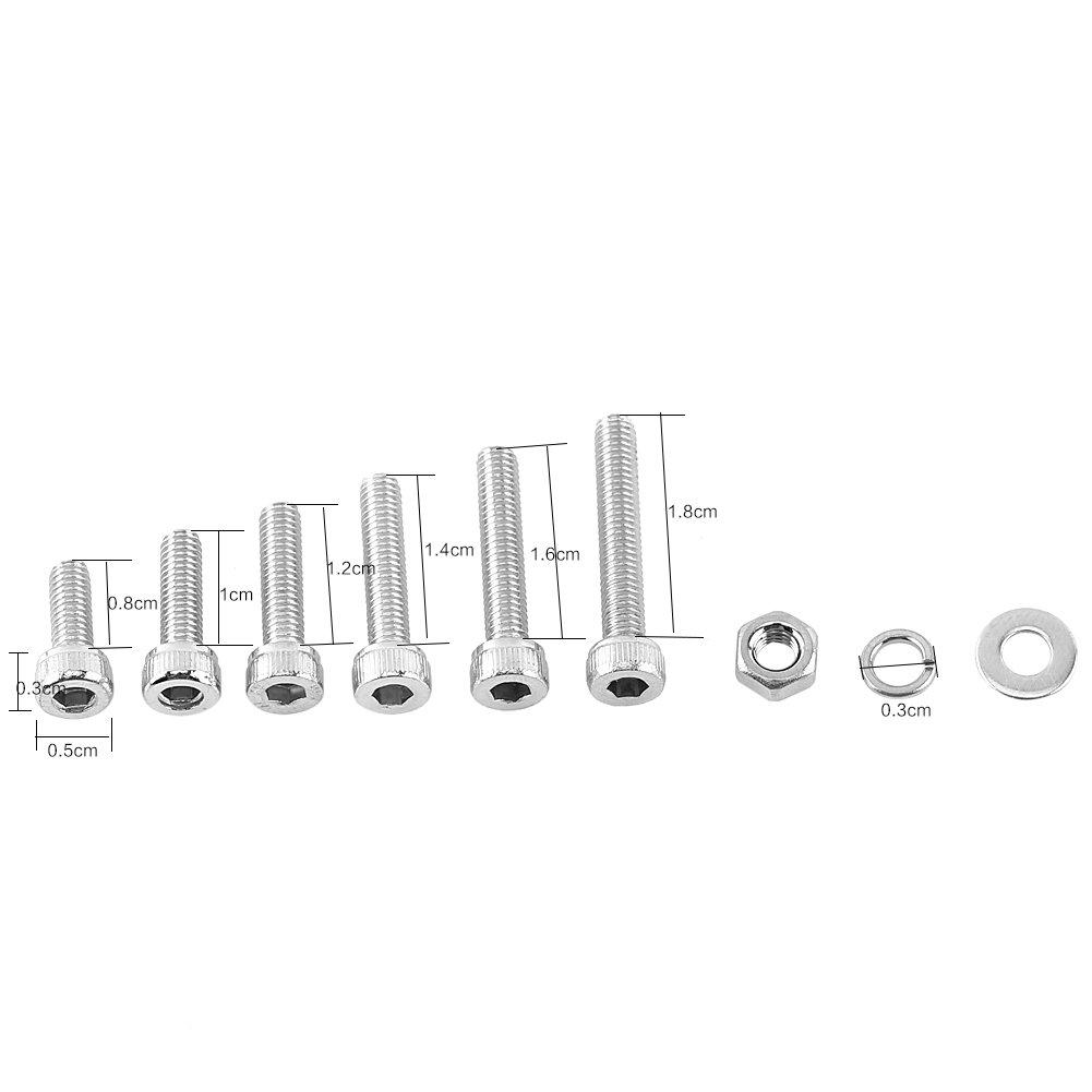 300pcs M3 304 Stainless Steel Hex Socket Screws Nuts Washer Assortment Kit Set A Cap Head