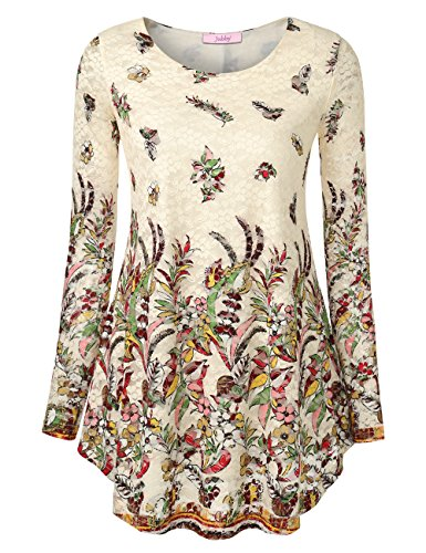 Jubby Floral Blouses Tunic, Ladies Womens Round Neck Tunic Top Flowered Pattern Vintage Lightweight Cute Shirts Full Sleeve Flared Comfy Running Knit Pullover Tee for Women X-Large Beige (Jersey Long Sleeve Blouse)