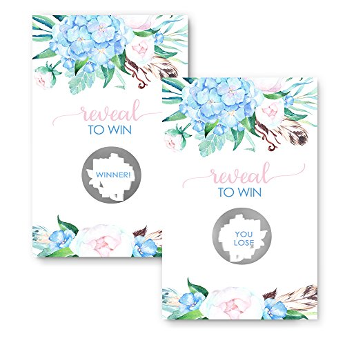 Blue Floral Scratch Off Party Game Card (28 (Birthday Scratch Off Game)