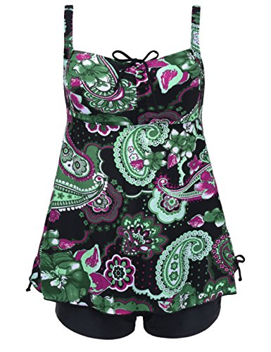 - Septangle Women's Plus Size Bathing Suits Paisley Print Two Piece Swimsuit (US 10, Black&Green Floral)