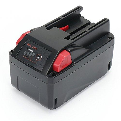 M28 Battery REEXBON Extended Run Time Milwaukee 28v 3000mAh Battery Replace for AEG Milwaukee C 12-28 DCR M28 M28B M28BX MC28v M28B - 28v Battery