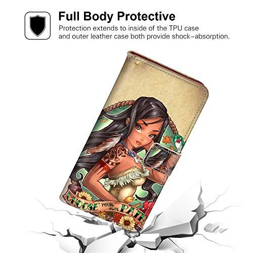 DISNEY COLLECTION Wallet Case Compatible Samsung Galaxy S9 Plus [6.2 Inch] Disney Princess Pocahontas Tattoo Pretty]()