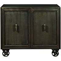 Pulaski DS-P006005 Industrial Metal 2 Door Accent Chest with Trolley Wheels, 42 x 16 x 37.5/Full/Queen