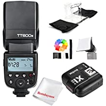 Godox TT600S GN60 Speedlite On-camera Flash Light + X1T-S Flash Trigger for Sony with Mi Shoe A7RII A7R A58 A6000 A99...w/ Diffuser, Color Filters, Waterproof Cover for Camera/Flash
