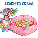 Toddler Ball Pit Kids Pop Up Pink Baby Ball Pit Playpen Indoor Hexagon Ocean Sea Infant Ball Pool, Best Birthday Gift Toy for 1 to 2 Year Old Little Girl (Balls Not Included)