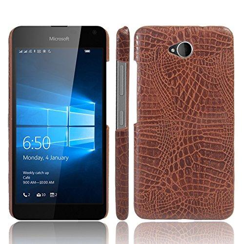 YHUISEN Lumia 650 caso, patrón de piel de cocodrilo clásico de lujo [ultra delgado] cuero de la PU antirayaduras de la PC cubierta protectora de la caja dura para Microsoft Lumia 650 N650 ( Color : Pi Brown