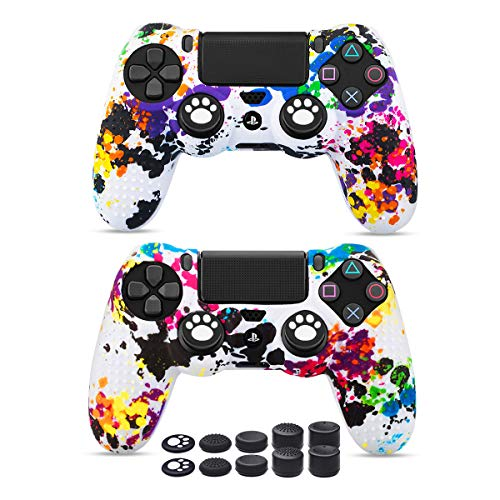 - 6amlifestyle PS4 Controller Skins, Silicone Covers for DualShock 4 - Anti-Slip Protector Case Set for Sony PS4, PS4 Slim, PS4 Pro 2 PS4 Controller Skins(red and Blue) with Pro Thumb Grips x 10