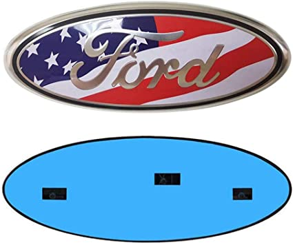 9inch YAUNLEL for Ford Front Grille Tailgate Emblem American Flag Oval 9X3.5 2004-2014 F150 Black Decal Badge Nameplate Also Fits for 04-14 F250 F350,11-14 Edge,11-16 Explorer,06-11 Ranger