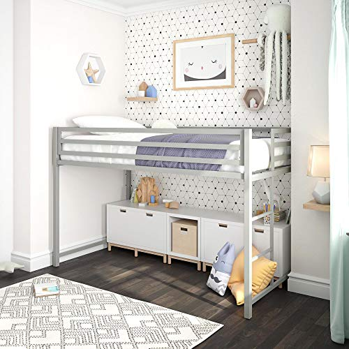 DHP Miles Junior Metal Loft Bed Kid's Bedroom, Silver, Twin