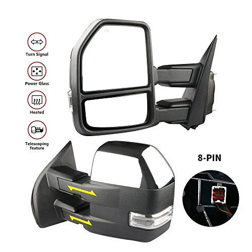 MOSTPLUS New Chrome Housing Power Heated Towing Mirrors for Ford F150 2015 2016 2017 w/Turn Signal Light -8 Pin Plug(Set of 2)